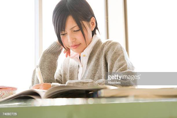 A girl studying