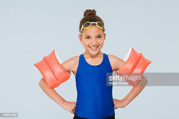 girl swimmer - armband stock pictures, royalty-free photos & images
