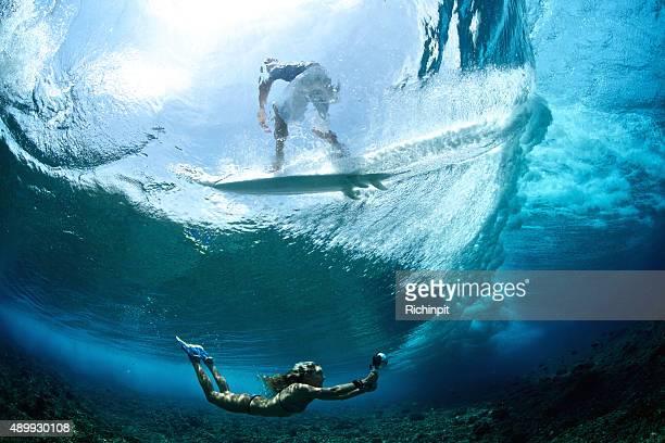 少女の波での気持ちよいひと泳ぎ、サーファーの乗り物