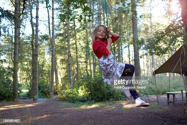 girl swinging on a tree - heidi coppock beard stock pictures, royalty-free photos & images