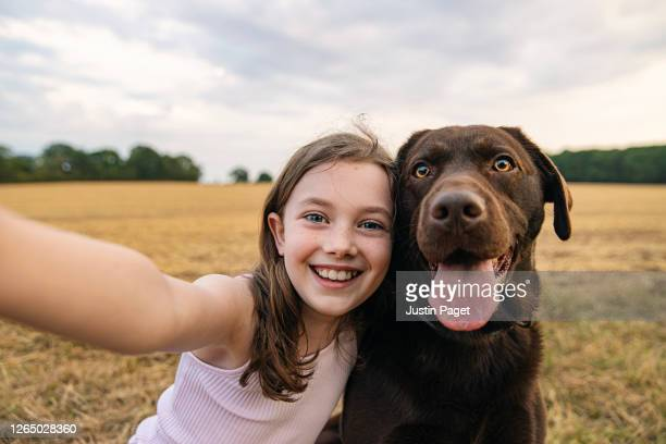 girl taking a selfie with her pet dog - embracing stock pictures, royalty-free photos & images