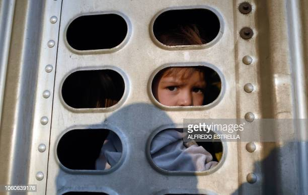 A girl taking part in a caravan of migrants from poor Central American countries mostly Hondurans moving towards the United States in hopes of a...
