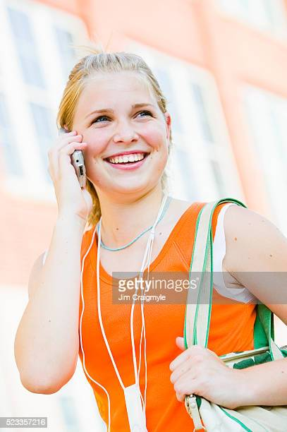 girl talking on cell phone - jim craigmyle stock pictures, royalty-free photos & images