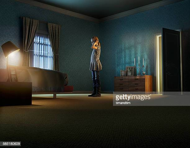 girl talking through smartphone in a room - camera da letto foto e immagini stock