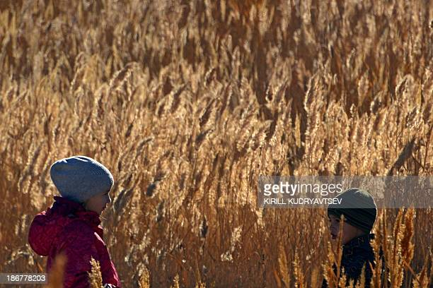 A girl talks with her brother in the reeds on a bank of the Syrdariya river close to Kazakhstan's city of Baikonur near the wellknown Russian leased...