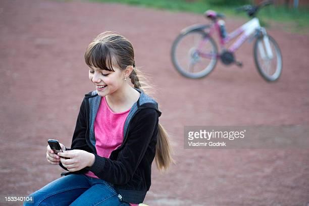A girl text messaging
