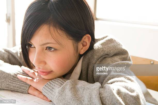 a girl thinking - female high school student stock pictures, royalty-free photos & images