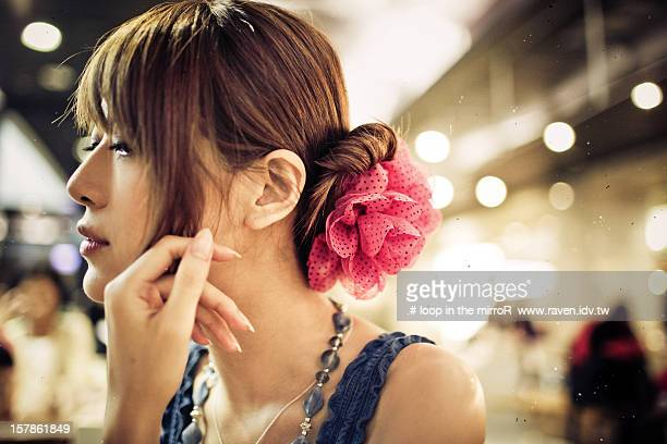 Girl thinking with side face