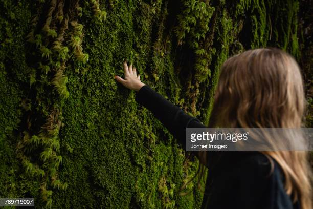 Girl touching moss