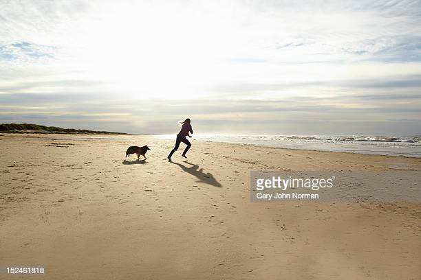 girl ( 14-16) training dog on beach - norfolk england stock pictures, royalty-free photos & images