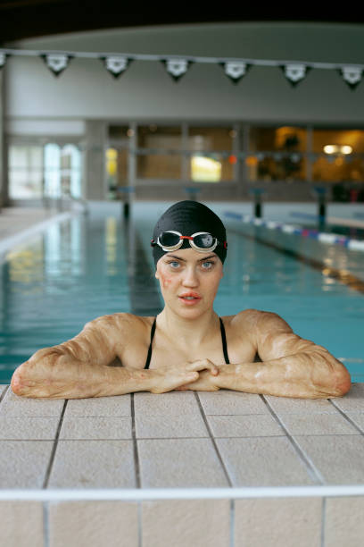 Girl training in the swimming pool