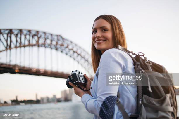 girl traveler in sydney - mid adult stock pictures, royalty-free photos & images