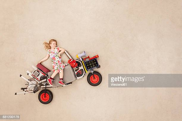 Girl trying out new vehicle