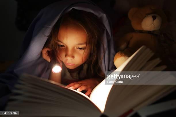 girl under bed covers reading book by torchlight - ein mädchen allein stock-fotos und bilder