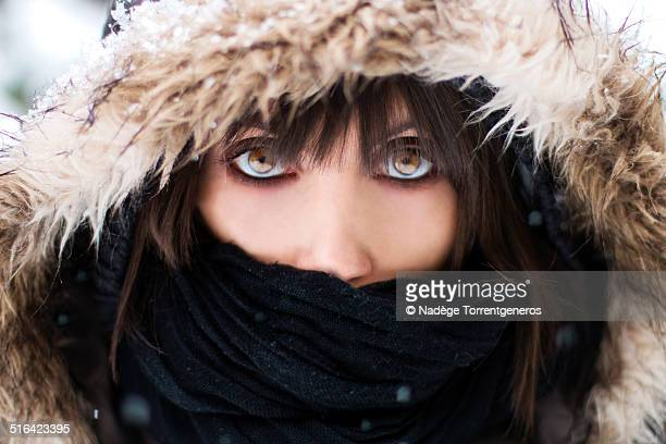 girl under snow - hazel eyes stock pictures, royalty-free photos & images