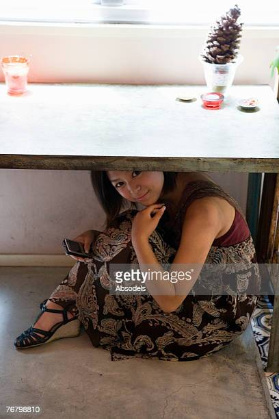 A girl under the table