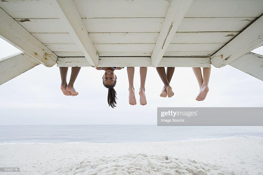 Girl upside down : Stock Photo