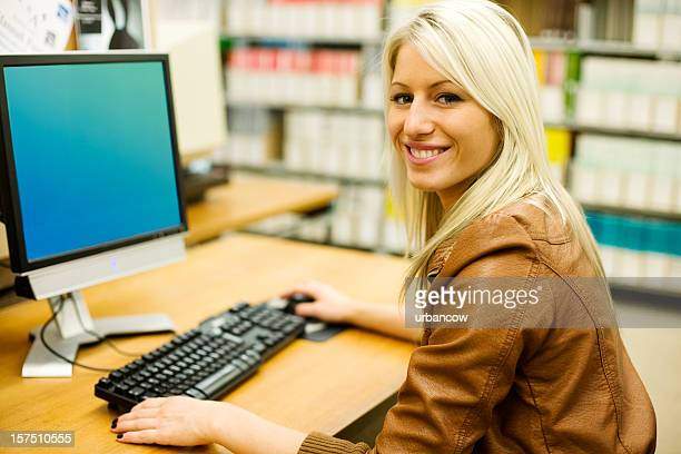 Girl using a library computer