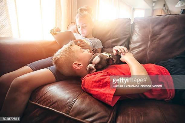 Girl using digital tablet on sofa whilst brother and boston terrier pup asleep