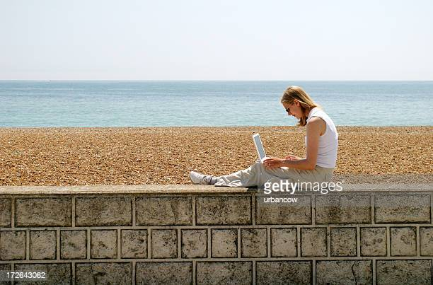 girl using laptop - pebble beach california stock pictures, royalty-free photos & images