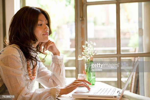 A girl using PC