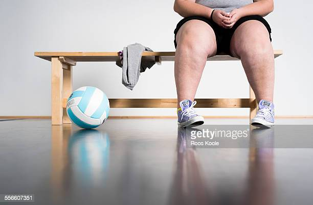 girl waits in a gym - fat legs stock photos and pictures