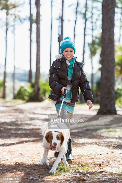 girl walking dog in park - brittany spaniel stock pictures, royalty-free photos & images