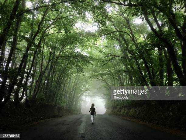 Girl walking down a foggy treelined road, Sidmouth Forest, Devon, England, UK