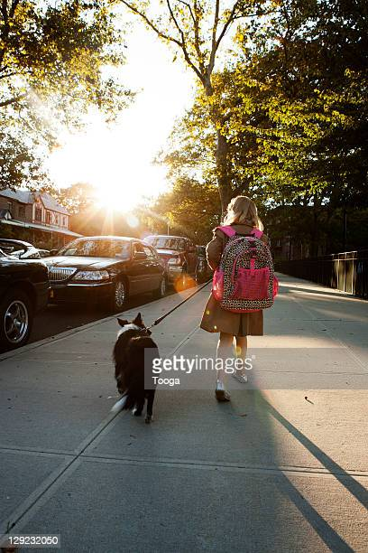Girl walking family pet in the evening