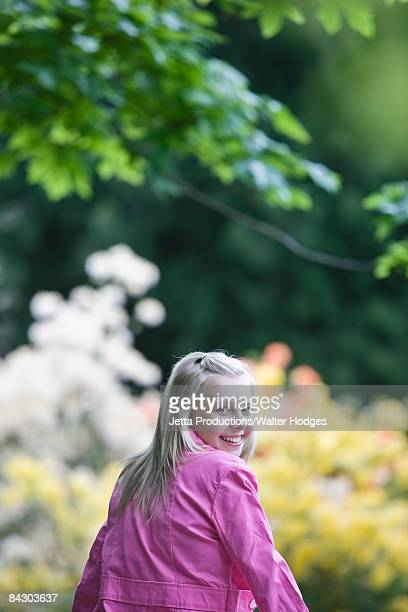 Girl walking in park