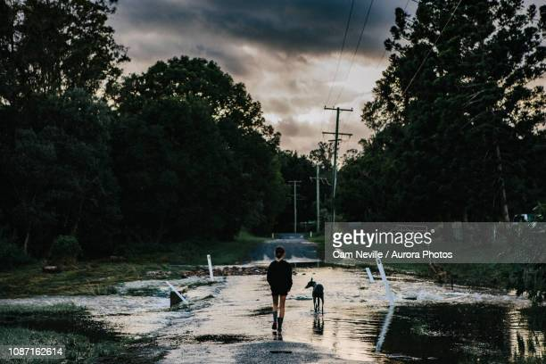 girl walking on road after cyclone, guanaba, queensland, australia - queensland foto e immagini stock