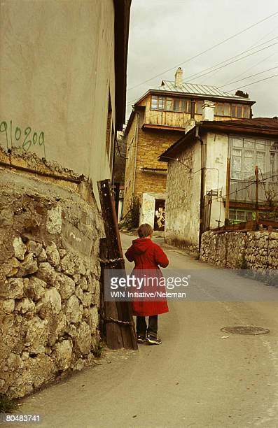girl walking on street - former soviet union stock pictures, royalty-free photos & images