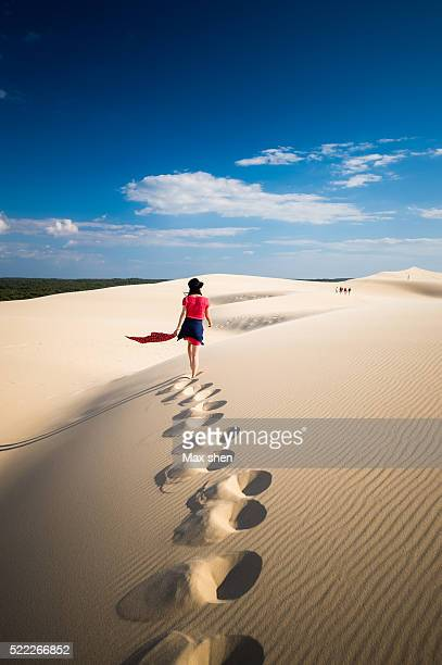 girl walking on the sand dune - gironde stock pictures, royalty-free photos & images