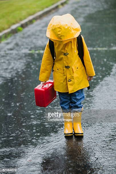 Girl walking outdoors in a raincoat