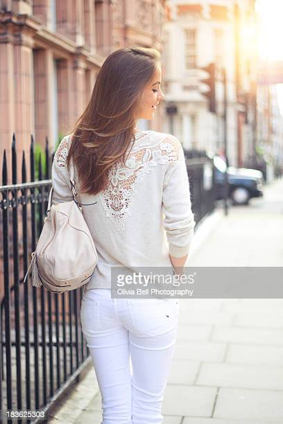 Girl Walking the Streets of London