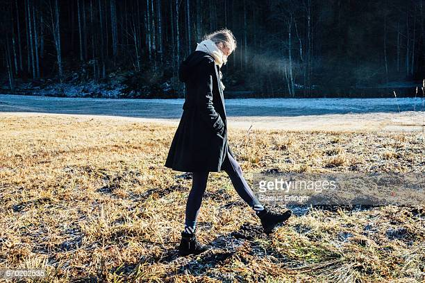 Girl walks around in winter
