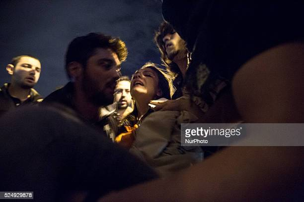 A girl was seriously injured when she was hit with a rubber bullet in the ankle during protests in Istanbul on May 15 2014 in reaction to the Soma...