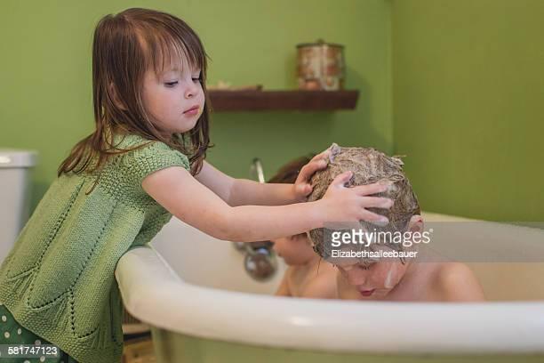 girl washing boy's hair - washing hair stock pictures, royalty-free photos & images