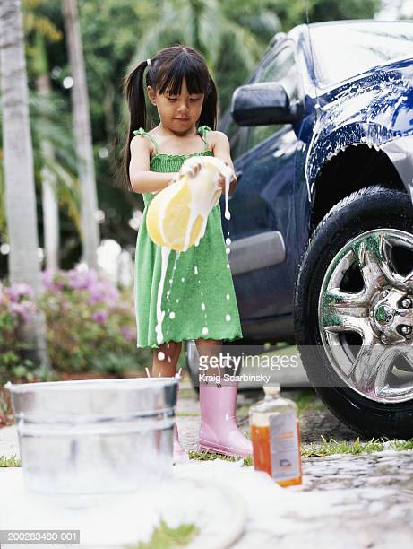 Girl (4-6) washing car in driveway, squeezing sponge, low angle view