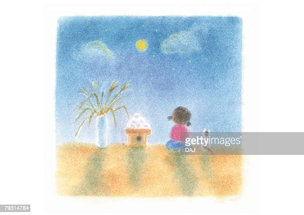 Girl watching full Moon, Illustration