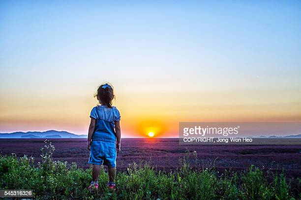 A girl watching the sunset at the red field