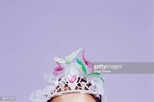 girl wearing a decorated tiara - princess stock pictures, royalty-free photos & images