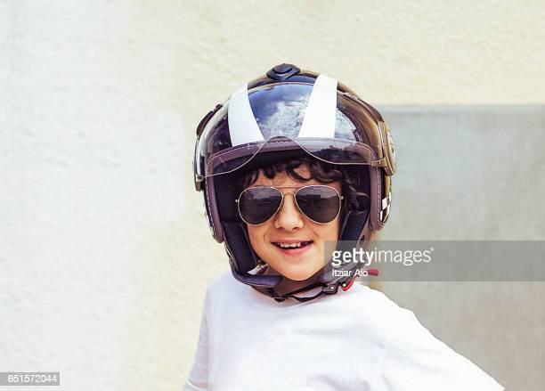 Girl wearing a motorcycle helmet
