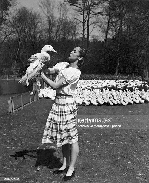 A girl wearing a striped skirt and lifting a goose circa 1948