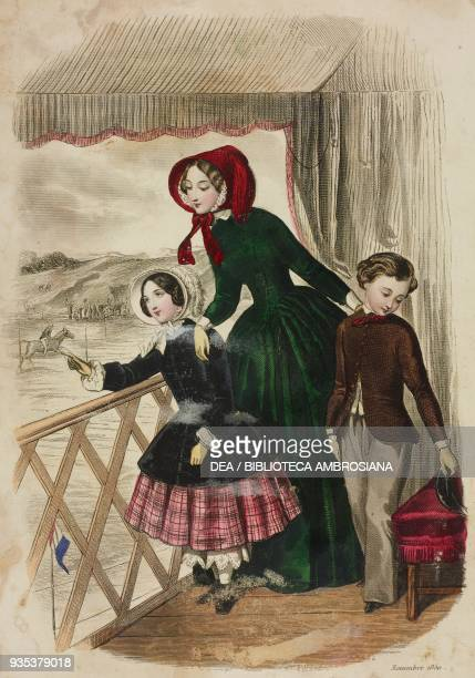 Girl wearing a tartan skirt and dark velvet cloak woman wearing an amazonstyle dress baby wearing a wool satin jacket and trousers illustration by...