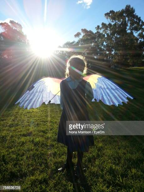 Girl Wearing Angel Costume While Standing On Grassy Field On Sunny Day