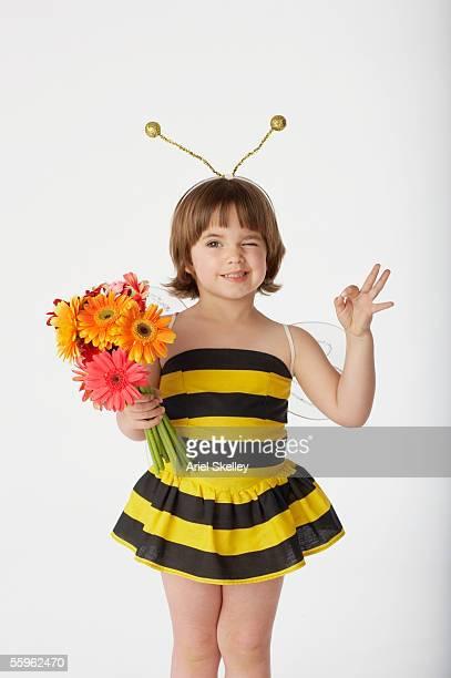 Girl wearing bumblebee costume