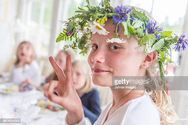 Girl wearing flower wreath