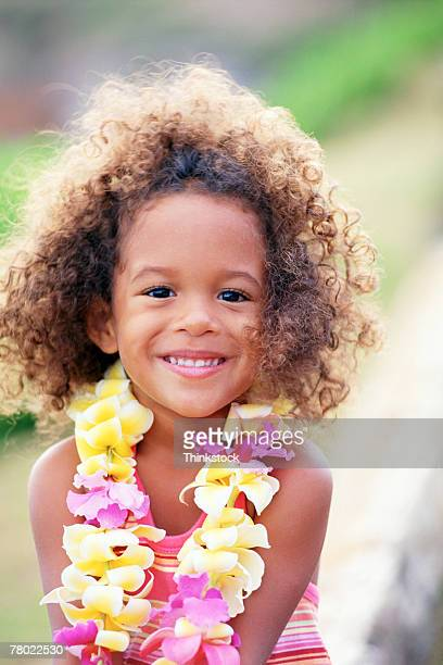 girl wearing lei - lei day hawaii stock pictures, royalty-free photos & images
