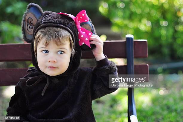 Girl wearing monkey costume